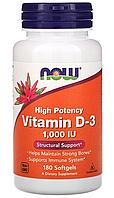 Витамин D-3, высокоактивный от Now Foods, 1000 МЕ, 180 капсул