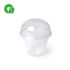 Стакан для коктейлей, пластиковый, с купольной крышкой (С отверстием/Без) - шейкер 200 мл (8 OZ) ПЭТ (50/1000)
