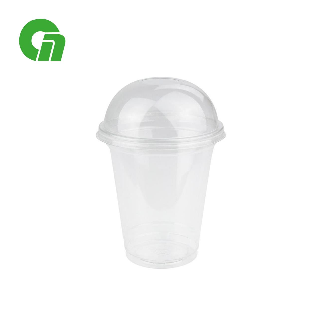 Стакан для коктейлей, пластиковый, с купольной крышкой (С отверстием/Без) - шейкер 300 мл(12 OZ) ПЭТ (50/1000)