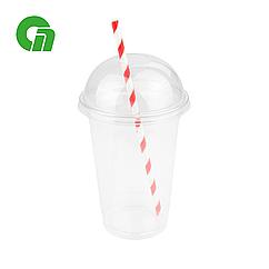 Стакан для коктейлей, пластиковый, с купольной крышкой (С отверстием/Без) - шейкер 400 мл(16 OZ) ПЭТ (50/1000)