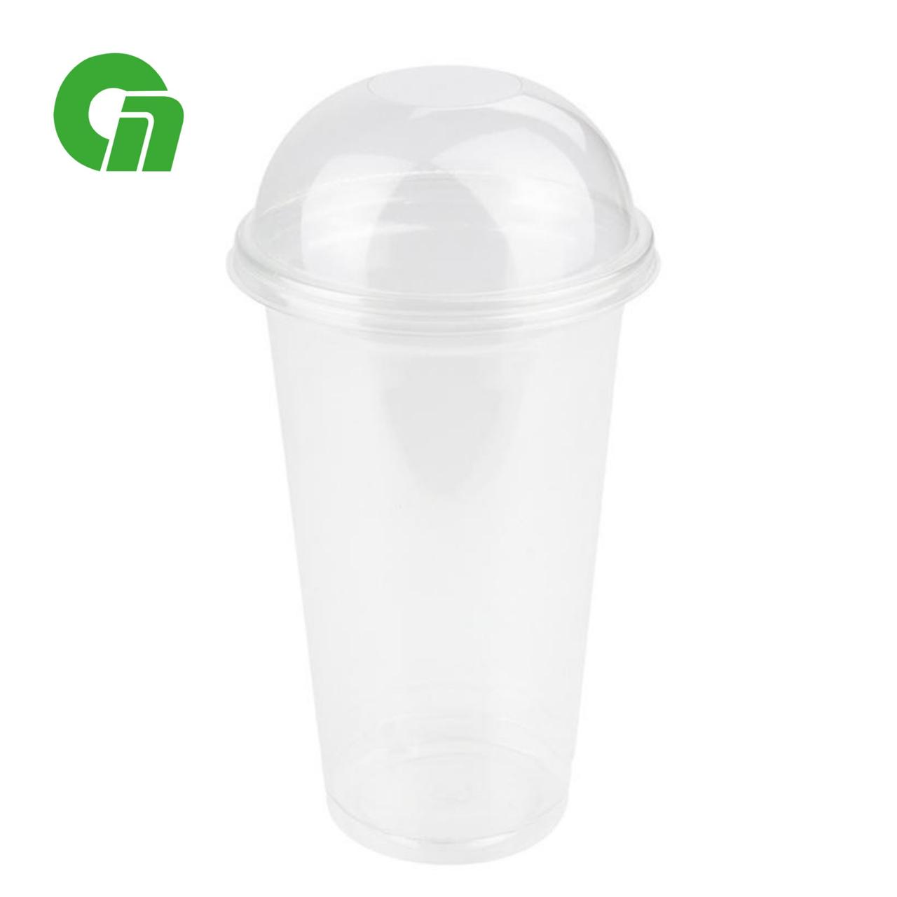 Стакан для коктейлей, пластиковый, с купольной крышкой (С отверстием/Без) - шейкер 500 мл(20 OZ) ПЭТ (50/1000)
