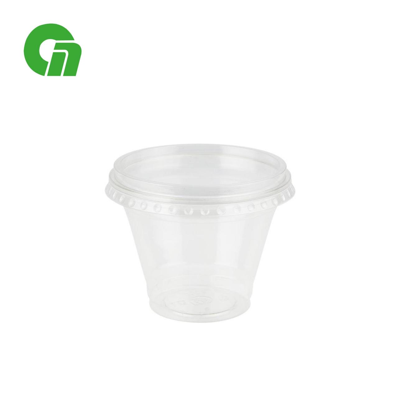 Стакан для коктейлей, пластиковый, с плоской крышкой (С отверстием) - шейкер 200 мл ПЭТ (50/1000)