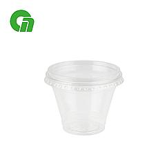 Стакан для коктейлей, пластиковый, с плоской крышкой (С отверстием) - шейкер 200 мл (8 OZ) ПЭТ (50/1000)