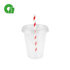 Стакан для коктейлей, пластиковый, с плоской крышкой (с отверстием) - шейкер 300 мл (12 OZ) ПЭТ (50/1000)