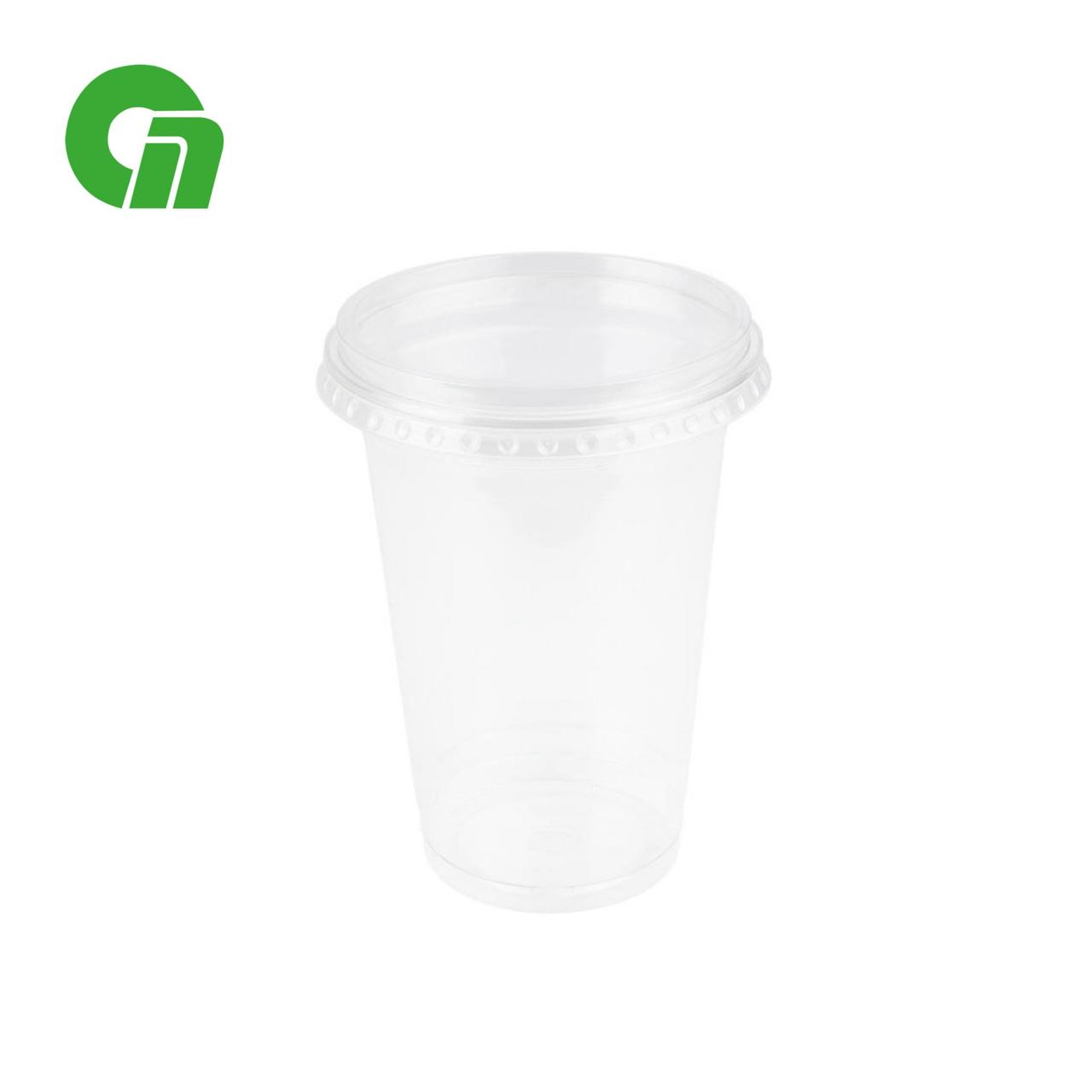 Стакан для коктейлей, пластиковый, с плоской крышкой (с отверстием) - шейкер 400 мл (16 OZ) ПЭТ (50/1000)