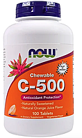 Витамин C-500 со вкусом апельсинового сока Now Foods, 100 таблеток