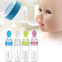 Детская силиконовая бутылочка для кормления с ложкой