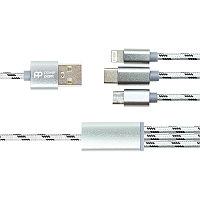 Кабель PowerPlant 2.1A 3-в-1 USB AM - Type-C/Lightning/Micro, 1.2м, серый