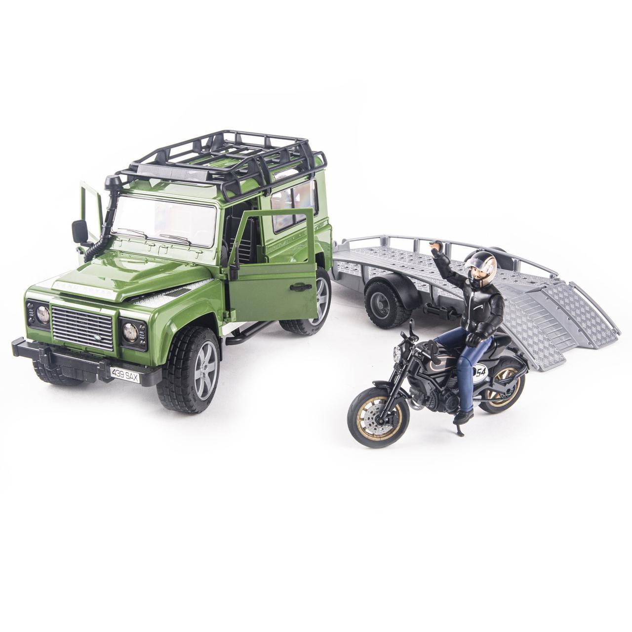 Bruder Игрушечный Внедорожник Land Rover Defender с прицепом мотоцикл Ducati (Брудер 02-598)