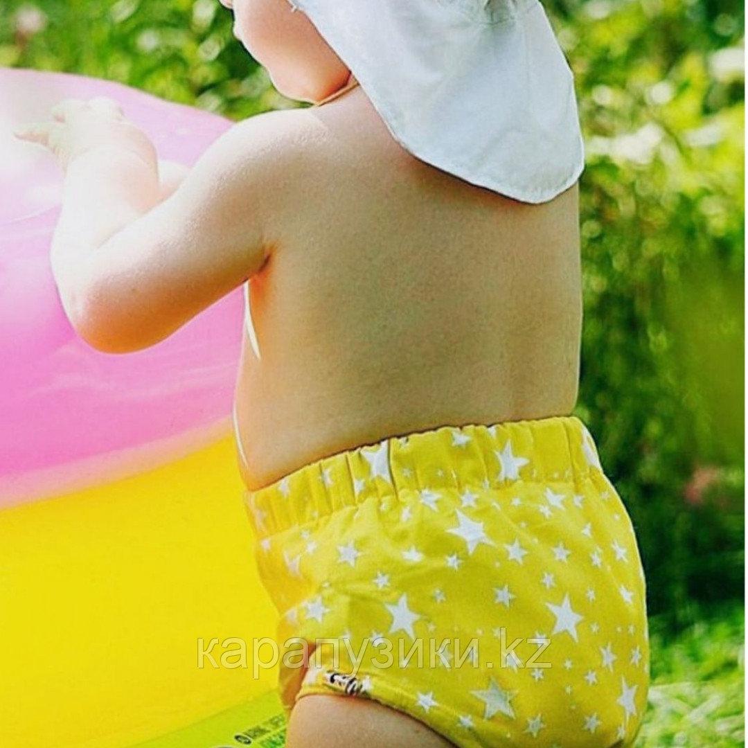 Памперсы многоразовые для бассейна с высокой талией звезды на желтом