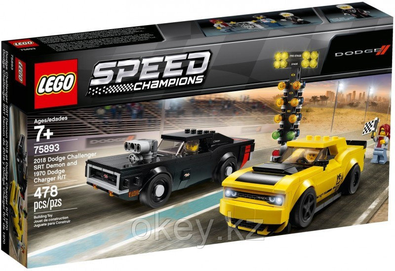 LEGO Speed Champions: Автомобили 2018 Dodge Challenger SRT Demon и 1970 Dodge Charger R/T 75893