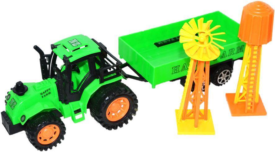 Поврежденная упаковка!!! 925-35 Трактор с прицепом и мельницей 17*13см