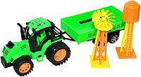 Поврежденная упаковка!!! 925-35 Трактор с прицепом и мельницей 17*13см, фото 1