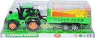Поврежденная упаковка!!! 925-35 Трактор с прицепом и мельницей 17*13см, фото 3