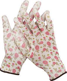 Перчатки садовые GRINDA M, 13 класс, прозрачное PU покрытие (11291-M)