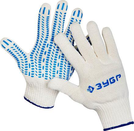 Перчатки трикотажные ЗУБР L-XL, 10 класс, х/б, защита от скольжения (11390-K10), фото 2