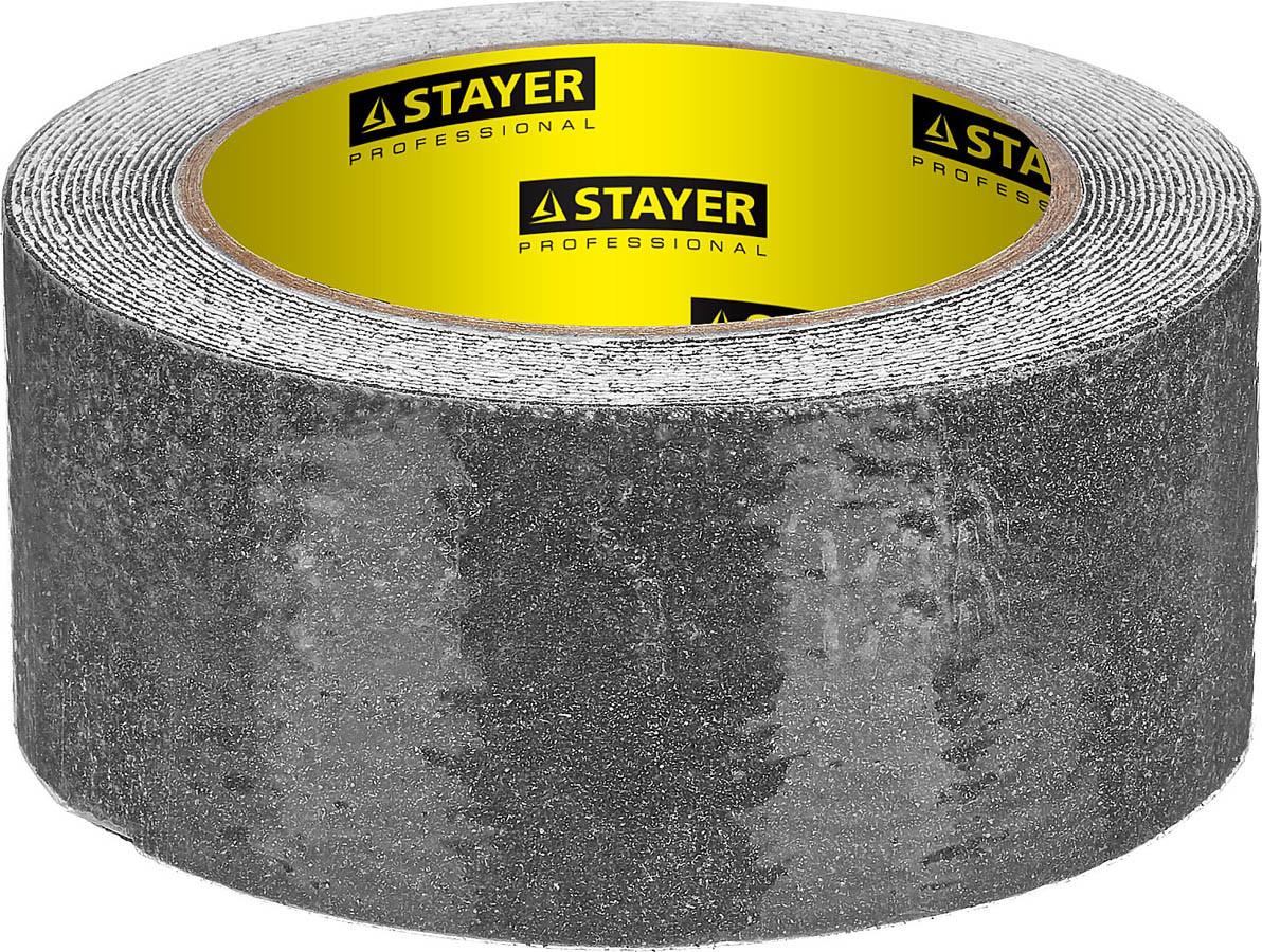Лента клейкая STAYER 50 мм х 5м, противоскользящая (скотч), черная (12270-50-05)