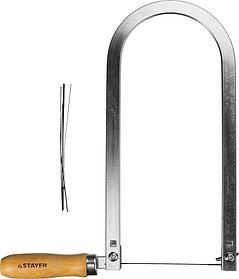Лобзик ручной STAYER 130 мм, 6.5 TPI, в наборе с полотнами (1530-25_z01)