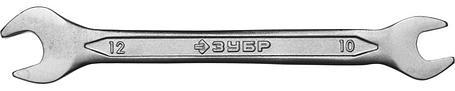Ключ гаечный ЗУБР 10х12 мм, Cr-V сталь, хромированный, рожковый (27010-10-12), фото 2