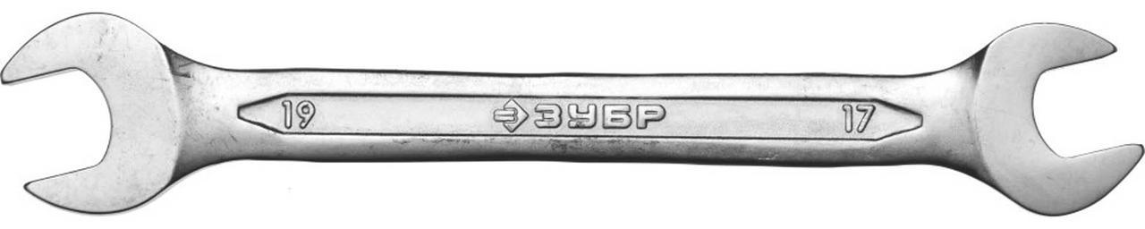 Ключ гаечный ЗУБР 17х19 мм, Cr-V сталь, хромированный, рожковый (27010-17-19)