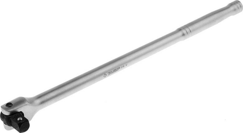 """Вороток перекидной ЗУБР 1/2"""", 380 мм, Cr-V сталь, хромированный, серия """"Мастер"""" (27737-1/2), фото 2"""