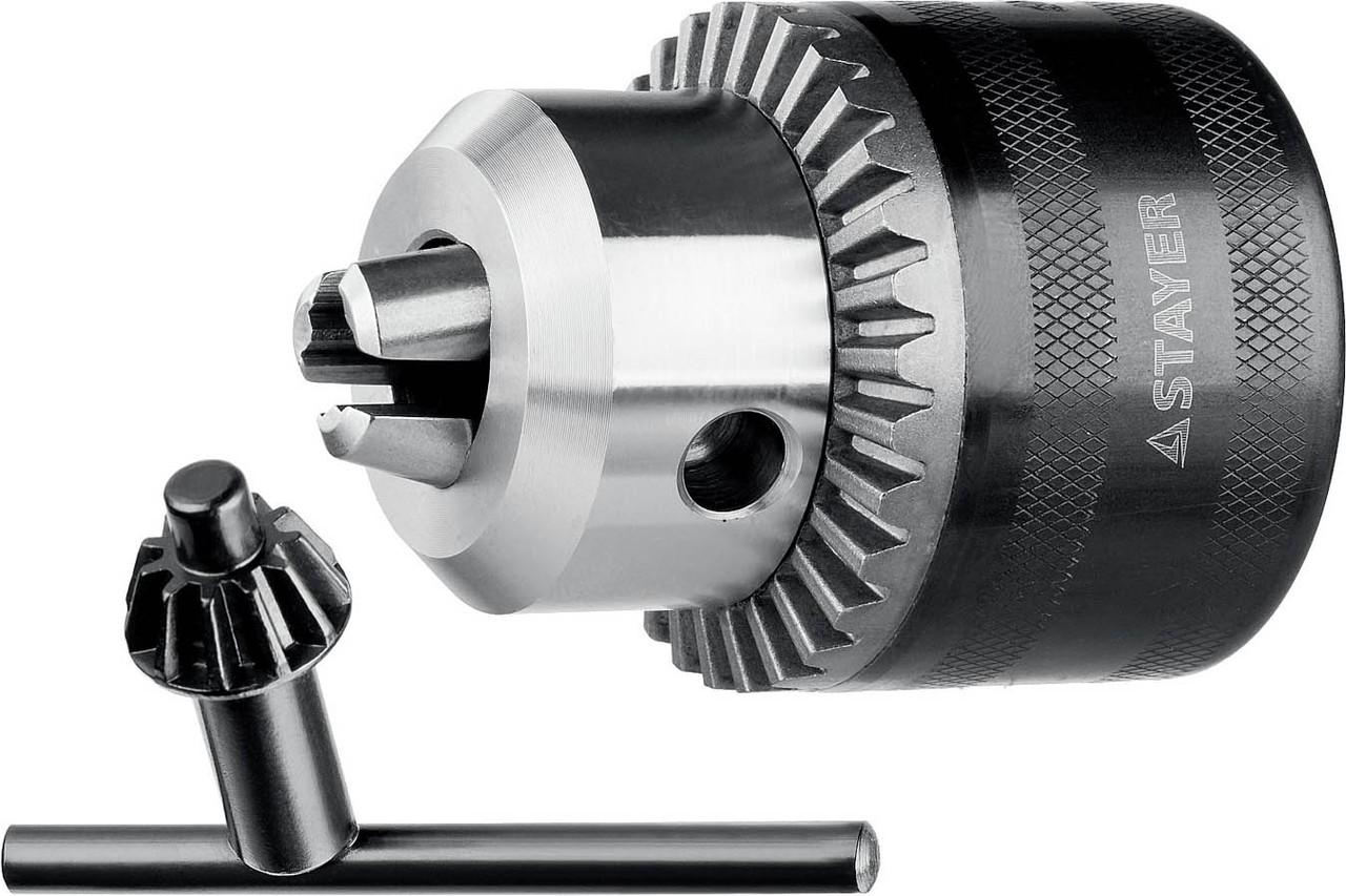 "Патрон для дрели STAYER 16 мм, 1/2"", ключ в комплекте, ударный (29055-16-1/2)"