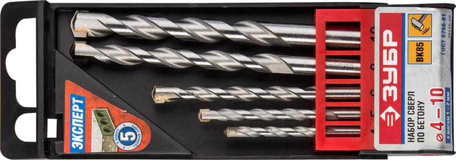 """Набор сверл по бетону ЗУБР 5 шт: Ø 4-5-6-8-10 мм, серия """"Профессионал"""" (29140-H5), фото 2"""