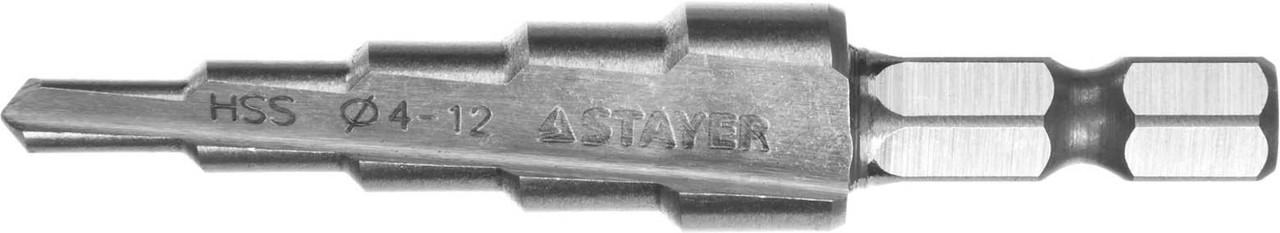 Сверло ступенчатое STAYER 4-12 мм, 5 ступеней, HSS (29660-4-12-5)