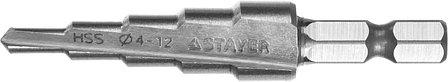Сверло ступенчатое STAYER 4-12 мм, 5 ступеней, HSS (29660-4-12-5), фото 2