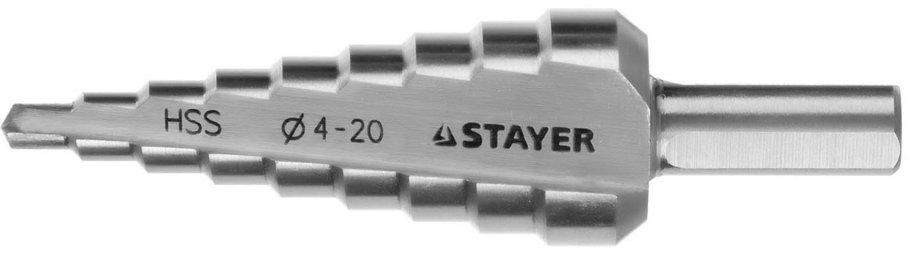 Сверло ступенчатое STAYER 4-20 мм, 9 ступеней, HSS (29660-4-20-9), фото 2
