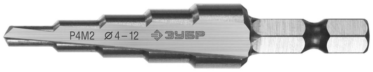Сверло ступенчатое ЗУБР 4-12 мм, 5 ступеней, Р4М2 (29665-4-12-5)