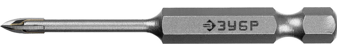 Сверло по стеклу и кафелю ЗУБР 3 мм, 4-х резцовый, длина 65 мм, шестигранный хвостовик (29845-03_z01)