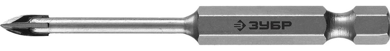 Сверло по стеклу и кафелю ЗУБР 4 мм, 4-х резцовый, длина 70 мм, шестигранный хвостовик (29845-04_z01)