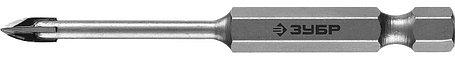Сверло по стеклу и кафелю ЗУБР 4 мм, 4-х резцовый, длина 70 мм, шестигранный хвостовик (29845-04_z01), фото 2