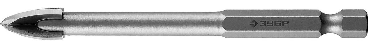 Сверло по стеклу и кафелю ЗУБР 10 мм, 4-х резцовый, длина 90 мм, шестигранный хвостовик (29845-10_z01)