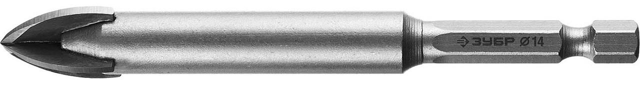 Сверло по стеклу и кафелю ЗУБР 14 мм, 4-х резцовый, длина 100 мм, шестигранный хвостовик (29845-14_z01)