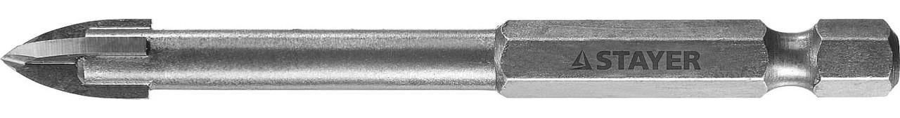 Сверло по стеклу и кафелю STAYER 8 мм, 4-х резцовый, шестигранный хвостовик (2985-08_z01)