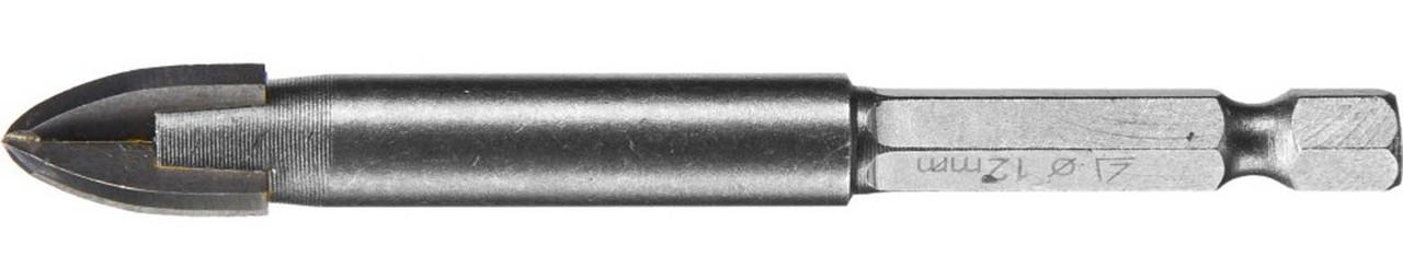 Сверло по стеклу и кафелю STAYER 12 мм, 4-х резцовый, шестигранный хвостовик (2985-12_z01)