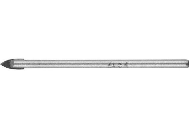 Сверло по стеклу и кафелю STAYER 4 мм, 2-х резцовый хвостовик цилиндрический (2986-04)