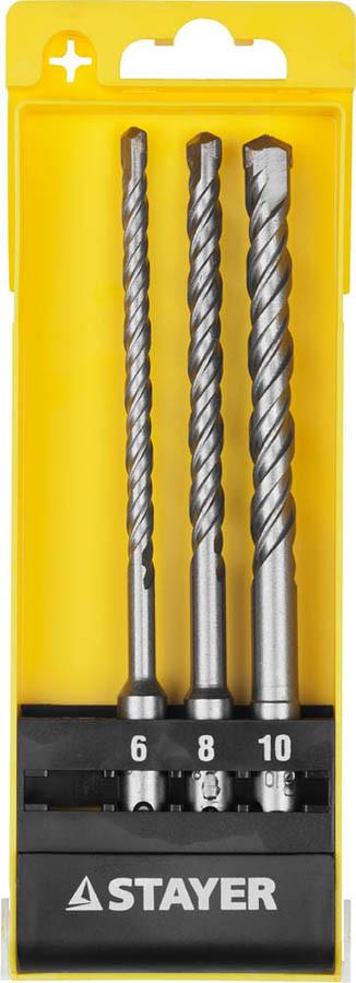 Набор буров STAYER 3 шт: 6, 8, 10 мм, SDS-plus (29250-H3)