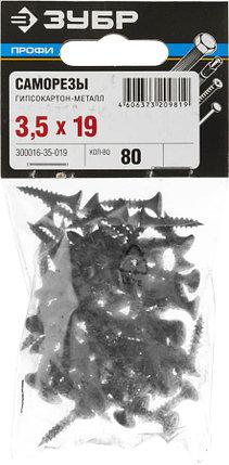 "Саморезы гипсокартон-металл ЗУБР 19 х 3.5 мм, 80 шт., серия ""Профессионал"" (300016-35-019), фото 2"