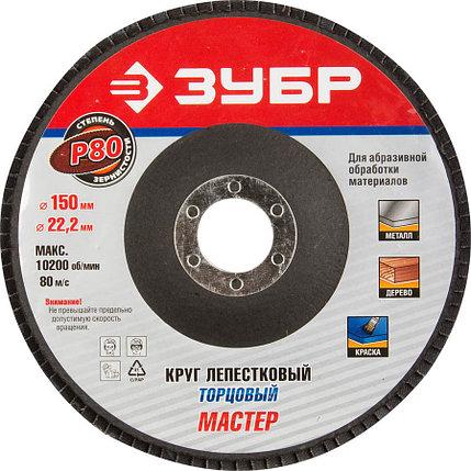 Круг шлифовальный лепестковый ЗУБР электрокорунд нормальный, P80, 150х22.2 мм (36592-150-80), фото 2