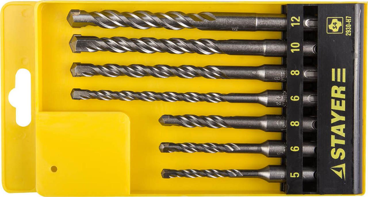 Набор буров по бетону STAYER 7 шт, 5,6,6,8,8,10,12 мм, SDS-Plus (2930-H7)
