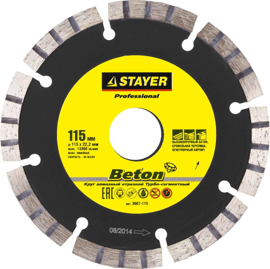 Алмазный диск отрезной BETON, STAYER 115 мм, по высокопрочному бетону (3667-115)