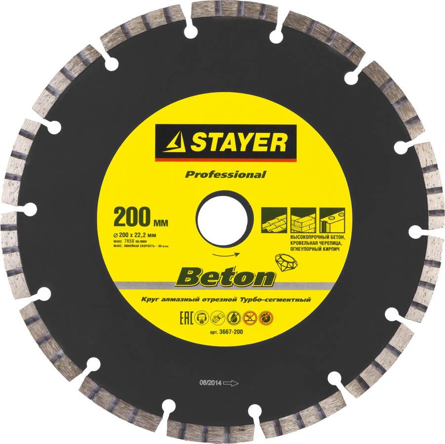 Алмазный диск отрезной BETON, STAYER 200 мм, по высокопрочному бетону (3667-200)