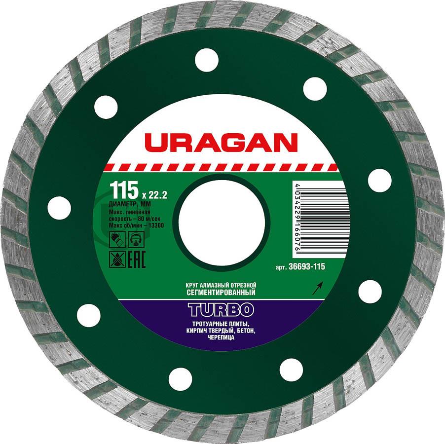 Круг отрезной для УШМ, URAGAN Ø 115х22.2 мм, алмазный, сегментированный (36693-115)