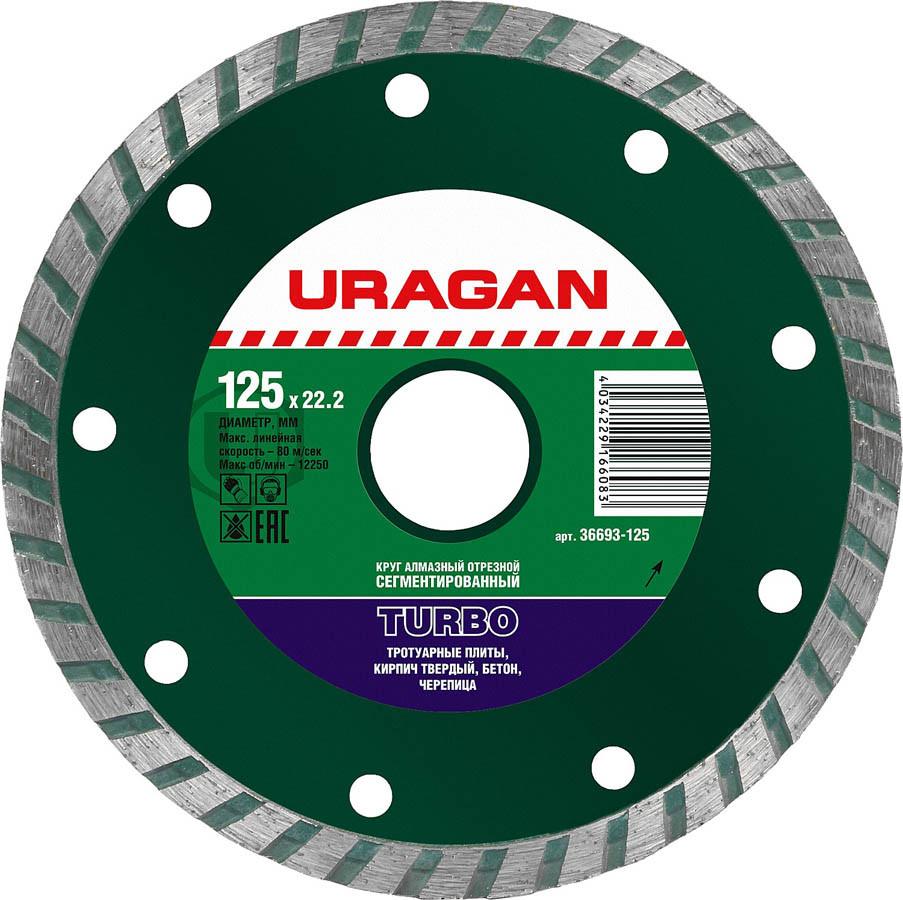 Круг отрезной для УШМ, URAGAN Ø 125х22.2 мм, алмазный, сегментированный (36693-125)