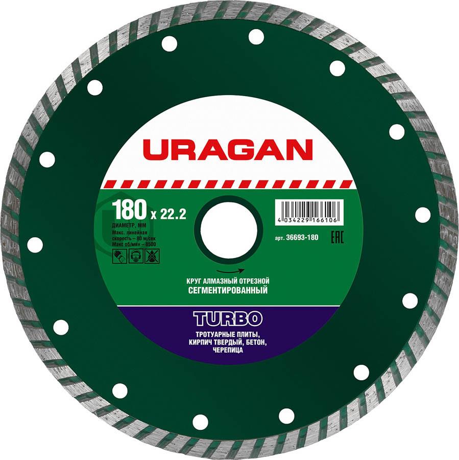 Круг отрезной для УШМ, URAGAN Ø 180х22.2 мм, алмазный, сегментированный (36693-180)