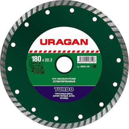 Круг отрезной для УШМ, URAGAN Ø 180х22.2 мм, алмазный, сегментированный (36693-180), фото 2