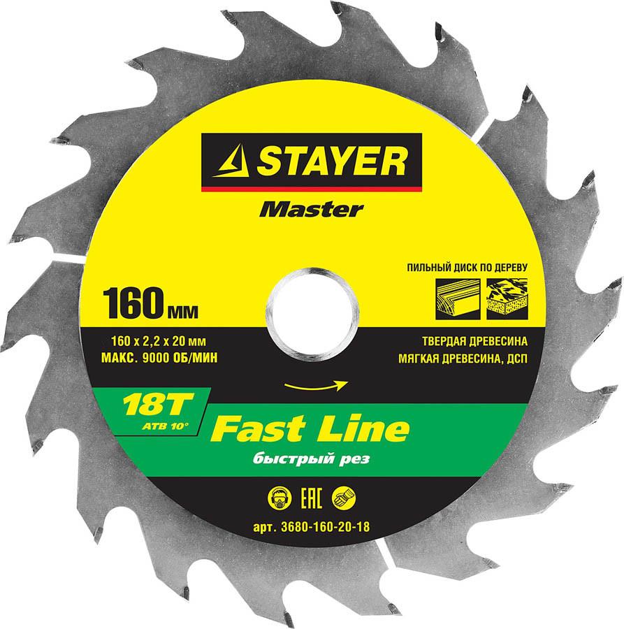 Диск пильный по дереву STAYER Ø 160 x 20 мм, 18T (3680-160-20-18)